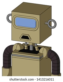 Portrait style Army-Tan Automaton With Box Head And Sad Mouth And Large Blue Visor Eye .
