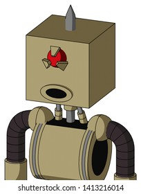 Portrait style Army-Tan Automaton With Box Head And Round Mouth And Angry Cyclops Eye And Spike Tip .