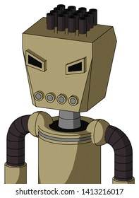 Portrait style Army-Tan Automaton With Box Head And Pipes Mouth And Angry Eyes And Pipe Hair .