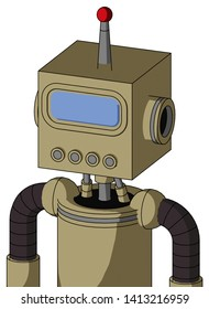 Portrait style Army-Tan Automaton With Box Head And Pipes Mouth And Large Blue Visor Eye And Single Led Antenna .