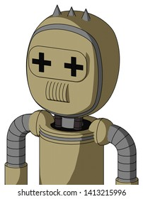 Portrait style Army-Tan Automaton With Bubble Head And Speakers Mouth And Plus Sign Eyes And Three Spiked .