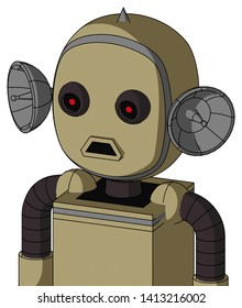 Portrait style Army-Tan Automaton With Bubble Head And Sad Mouth And Black Glowing Red Eyes And Spike Tip .