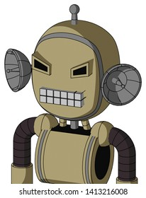 Portrait style Army-Tan Automaton With Bubble Head And Keyboard Mouth And Angry Eyes And Single Antenna .