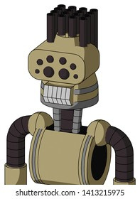 Portrait style Army-Tan Automaton With Cone Head And Teeth Mouth And Bug Eyes And Pipe Hair .