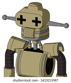 Portrait style Army-Tan Automaton With Cone Head And Speakers Mouth And Plus Sign Eyes .
