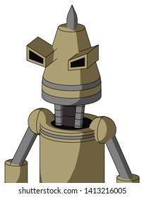 Portrait style Army-Tan Automaton With Cone Head And Angry Eyes And Spike Tip .