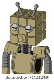 Portrait style Army-Tan Automaton With Cube Head And Speakers Mouth And Two Eyes And Double Antenna .