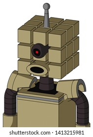 Portrait style Army-Tan Automaton With Cube Head And Round Mouth And Black Cyclops Eye And Single Antenna .