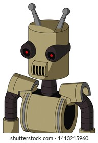 Portrait style Army-Tan Automaton With Cylinder Head And Speakers Mouth And Black Glowing Red Eyes And Double Antenna .