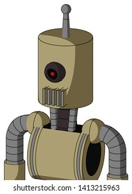 Portrait style Army-Tan Automaton With Cylinder Head And Vent Mouth And Black Cyclops Eye And Single Antenna .