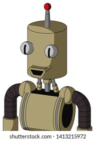 Portrait style Army-Tan Automaton With Cylinder Head And Happy Mouth And Two Eyes And Single Led Antenna .