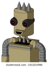 Portrait style Army-Tan Automaton With Cylinder Head And Happy Mouth And Black Glowing Red Eyes And Three Spiked .