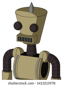 Portrait style Army-Tan Automaton With Cylinder-Conic Head And Square Mouth And Two Eyes And Spike Tip .