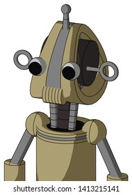 Portrait style Army-Tan Automaton With Droid Head And Speakers Mouth And Two Eyes And Single Antenna .