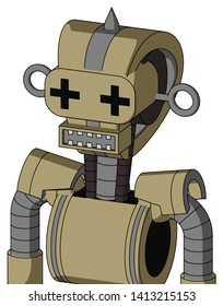 Portrait style Army-Tan Automaton With Droid Head And Square Mouth And Plus Sign Eyes And Spike Tip .