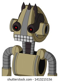 Portrait style Army-Tan Automaton With Droid Head And Keyboard Mouth And Black Glowing Red Eyes And Three Dark Spikes .