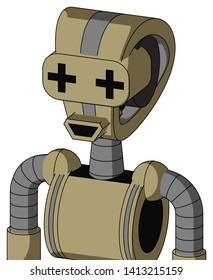 Portrait style Army-Tan Automaton With Droid Head And Happy Mouth And Plus Sign Eyes .