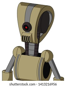 Portrait style Army-Tan Automaton With Droid Head And Speakers Mouth And Black Cyclops Eye .