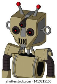 Portrait style Army-Tan Automaton With Mechanical Head And Speakers Mouth And Three-Eyed And Double Led Antenna .