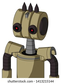 Portrait style Army-Tan Automaton With Multi-Toroid Head And Black Glowing Red Eyes And Three Dark Spikes .