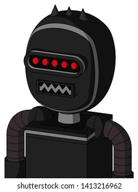 Portrait style Black Automaton With Bubble Head And Square Mouth And Visor Eye And Three Dark Spikes .