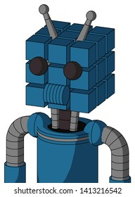 Portrait style Blue Automaton With Cube Head And Speakers Mouth And Two Eyes And Double Antenna .