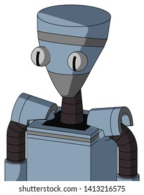 Portrait style Blue Mech With Vase Head And Two Eyes .