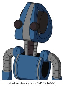 Portrait style Blue Robot With Droid Head And Two Eyes .