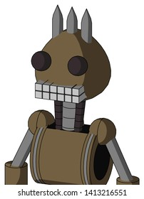 Portrait style Cardboard Mech With Rounded Head And Keyboard Mouth And Two Eyes And Three Spiked .
