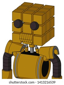 Portrait style Dark-Yellow Automaton With Cube Head And Toothy Mouth And Two Eyes .