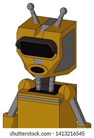 Portrait style Dark-Yellow Automaton With Mechanical Head And Round Mouth And Black Visor Eye And Double Antenna .