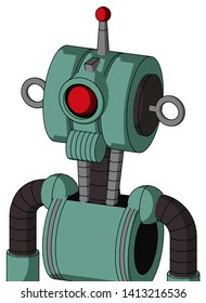 Portrait style Green Mech With Multi-Toroid Head And Speakers Mouth And Cyclops Eye And Single Led Antenna .