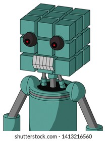 Portrait style Greenish Mech With Cube Head And Teeth Mouth And Red Eyed .