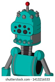 Portrait style Greenish Robot With Dome Head And Pipes Mouth And Bug Eyes And Single Led Antenna .