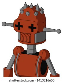 Portrait style Orange Robot With Dome Head And Speakers Mouth And Plus Sign Eyes And Three Spiked .