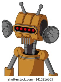Portrait style Peach Droid With Multi-Toroid Head And Vent Mouth And Visor Eye And Double Antenna .