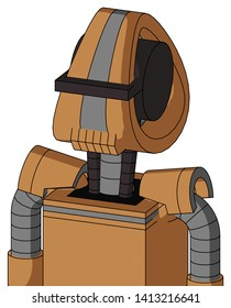 Portrait style Peach Mech With Droid Head And Toothy Mouth And Black Visor Cyclops .