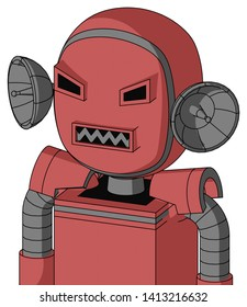 Portrait style Pinkish Mech With Bubble Head And Square Mouth And Angry Eyes .