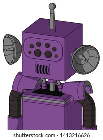 Portrait style Purple Automaton With Box Head And Speakers Mouth And Bug Eyes And Single Antenna .