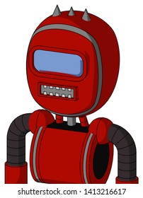 Portrait style Red Mech With Bubble Head And Square Mouth And Large Blue Visor Eye And Three Spiked .