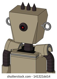 Portrait style Tan Robot With Box Head And Black Cyclops Eye And Three Dark Spikes .