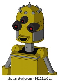 Portrait style Yellow Automaton With Dome Head And Happy Mouth And Three-Eyed And Spike Tip .