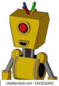 Portrait style Yellow Droid With Box Head And Happy Mouth And Cyclops Eye And Wire Hair .