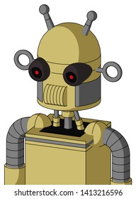 Portrait style Yellow Droid With Dome Head And Speakers Mouth And Black Glowing Red Eyes And Double Antenna .
