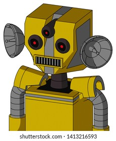 Portrait style Yellow Droid With Mechanical Head And Square Mouth And Three-Eyed .