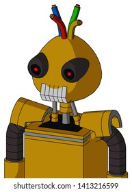 Portrait style Yellow Droid With Rounded Head And Teeth Mouth And Black Glowing Red Eyes And Wire Hair .