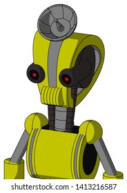 Portrait style Yellow Robot With Droid Head And Speakers Mouth And Black Glowing Red Eyes And Radar Dish Hat .