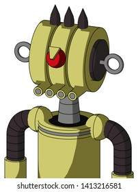 Portrait style Yellow Robot With Multi-Toroid Head And Pipes Mouth And Angry Cyclops And Three Dark Spikes .