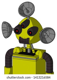 Portrait style Yellow Robot With Rounded Head And Dark Tooth Mouth And Three-Eyed And Radar Dish Hat .