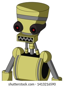 Portrait style Yellow Robot With Vase Head And Square Mouth And Black Glowing Red Eyes .